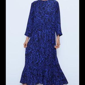 NWT Zara Animal Print Midi Dress Blue XS